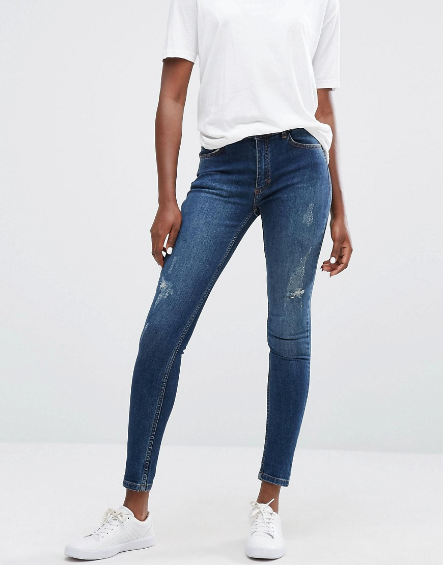 Minimum Jagger Skinny Rip Knee Jeans - Dark blue