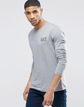 EA7 T-Shirt With Chest Logo Long Sleeves