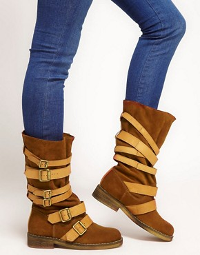 Image 3 ofASOS CABIN Leather Buckle Boots