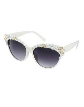 Image 1 of ASOS Embellished Gem Cat Eye Sunglasses