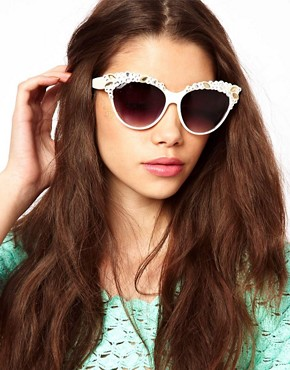 Image 3 of ASOS Embellished Gem Cat Eye Sunglasses