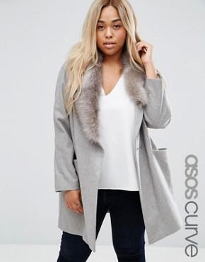 ASOS CURVE Coat with Asymmetric Detachable Fur Collar
