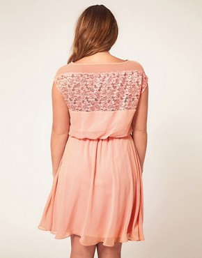 Image 2 ofASOS CURVE Skater Dress With Daisy Lace