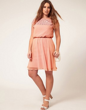 Image 4 ofASOS CURVE Skater Dress With Daisy Lace