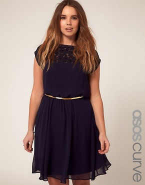 Image 1 ofASOS CURVE Skater Dress With Daisy Lace
