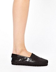TOMS Classic Black Glitter Flat Shoes