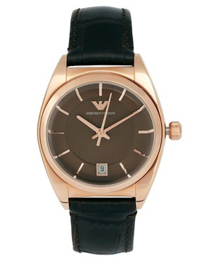 Image 1 ofEmporio Armani Espresso And Rose Gold Leather Strap Watch