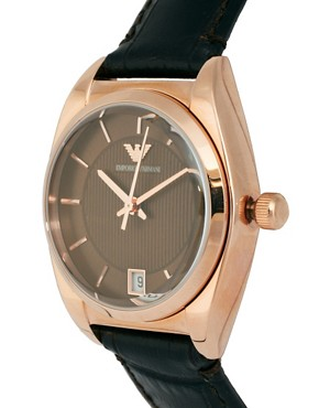 Image 4 ofEmporio Armani Espresso And Rose Gold Leather Strap Watch