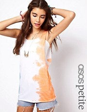 ASOS PETITE Exclusive Vest In Tie Dye With Dropped Armhole