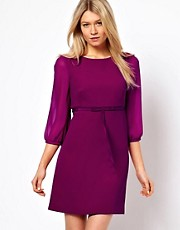 Ted Baker Tie Waist 60&#39;s Dress with 3/4 Sleeves