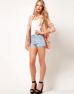 Image 1 ofASOS High Waisted Denim Shorts in Bleach Wash