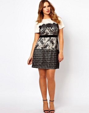Image 4 ofASOS CURVE Exclusive Dress With Lace Overlay