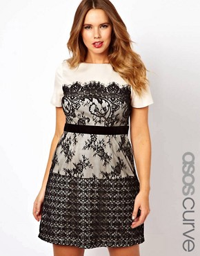 Image 1 ofASOS CURVE Exclusive Dress With Lace Overlay