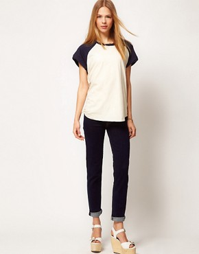 Image 4 of7 For All Mankind Roxanne Skinny Jean Raw Denim