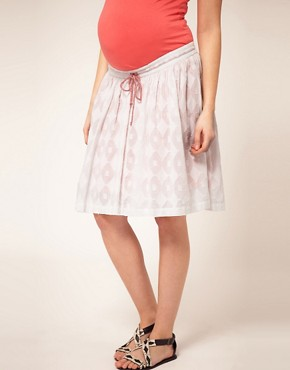 Image 4 ofASOS Maternity Cotton Jacquard Skirt With Contrast Neon Lining
