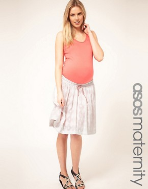 Image 1 ofASOS Maternity Cotton Jacquard Skirt With Contrast Neon Lining