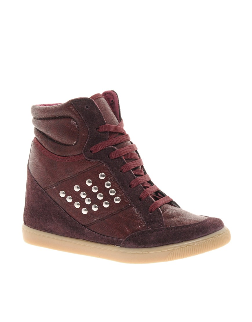 Image 1 of ASOS DENY Studded Wedge High Top Trainers with Suede Detail