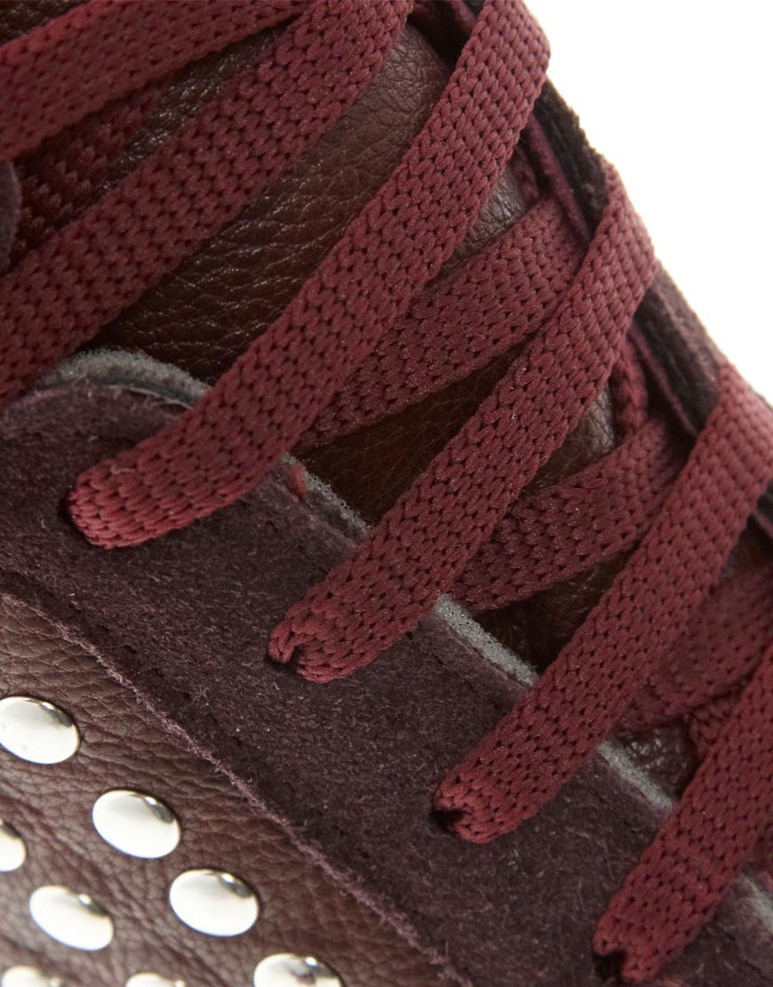 Image 2 of ASOS DENY Studded Wedge High Top Trainers with Suede Detail