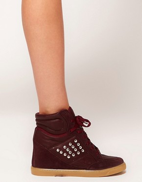 Image 3 ofASOS DENY Studded Wedge High Top Trainers with Suede Detail