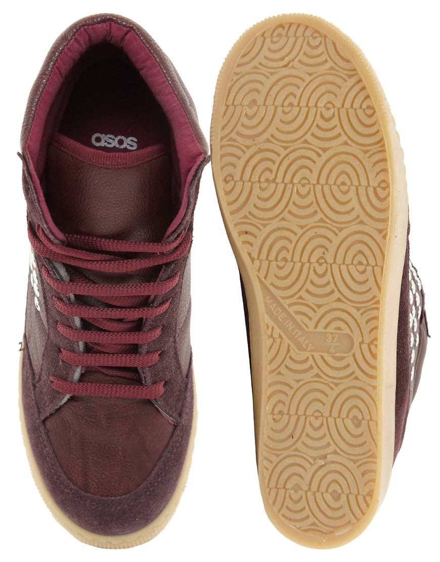 Image 4 of ASOS DENY Studded Wedge High Top Trainers with Suede Detail