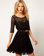 ASOS Skater Dress In Spot Lace &amp; Mesh Skirt