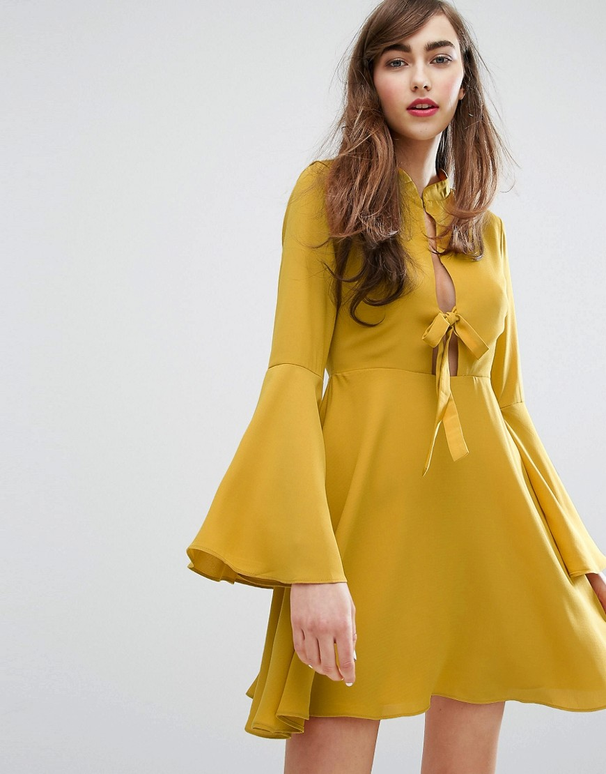 E.F.L.A Tie Front Swing Dress - Marigold