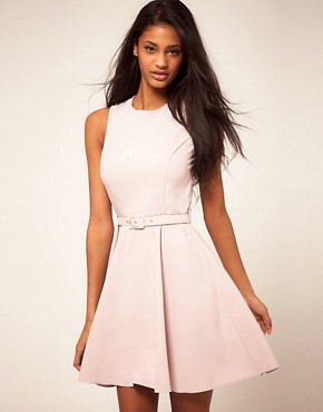 Image 1 ofASOS Fit and Flare Dress With Belt