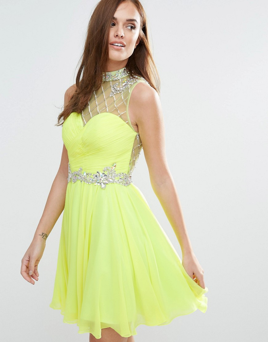 Forever Unique Mini Skater Dress - Lime