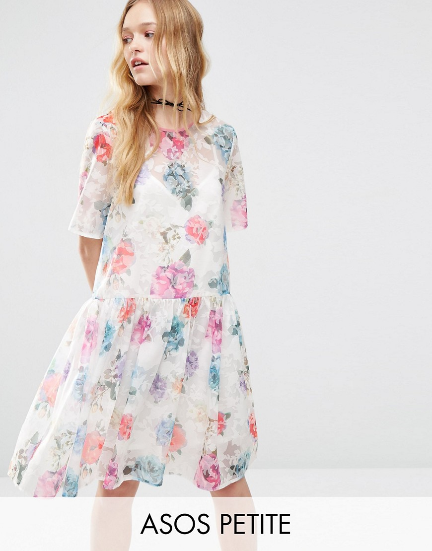 ASOS PETITE Smock Dress in Organza Floral - Multi