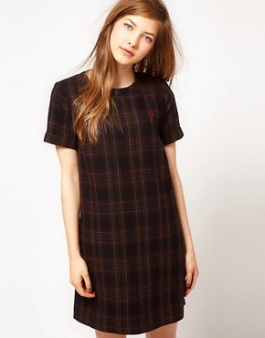 Image 1 ofFred Perry Checked Shift Dress