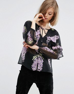 ASOS Floral Blouse with Cape Detail & Tie