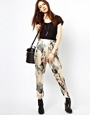 Just Female Leopard Floral Trousers