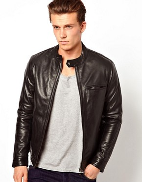 Image 1 ofASOS Leather Biker Jacket