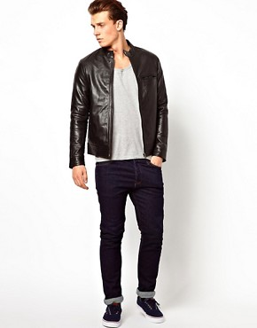 Image 4 ofASOS Leather Biker Jacket