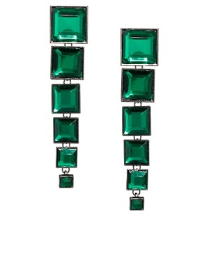 Image 1 ofASOS Articulated Gem Square Drop Earrings