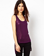 Warehouse Sequin Front High Low Hem Vest