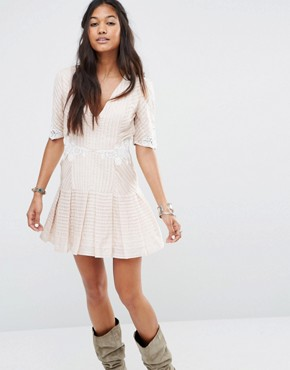 Free People Ma Cherie Mini Dress with Pintucks and Lace