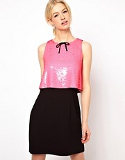 Boutique by Jaeger Dress with Color Blocking and Bow Detail at Neck