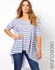 ASOS CURVE Exclusive Dip Back Top With Broken Stripe