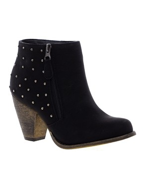 Image 1 ofNew Look Calm Studded Western Heeled Ankle Boots