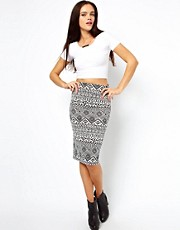 Vero Moda Aztec Print Midi Skirt