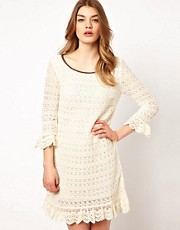 Dress Gallery Crochet Shift Dress with Ruffle Hem