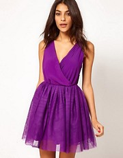 ASOS Party Dress with Velvet Trim