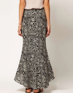 Image 2 ofWinter Kate Bias Cut Silk Skirt in Paisley Printed Silk