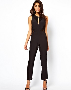 Image 1 ofASOS Jumpsuit with Lace Inserts