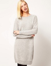 Kore by Sophia Kokosalaki Angora Knit Dress With Patterned Sleeve