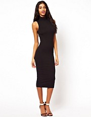 ASOS Midi Body-Conscious Dress With Polo Neck Sleeveless