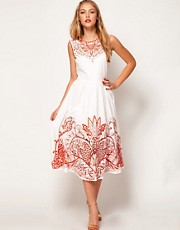 ASOS Midi Dress With Embroidery
