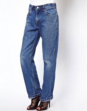 Image 1 ofReclaimed Vintage Levis Boyfriend Jeans in Dark Stonewash