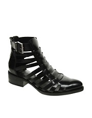 ASOS ATTACK Leather Gladiator Ankle Boots